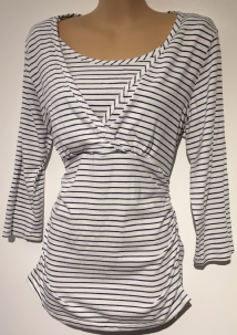 BLOOMING MARVELLOUS WHITE/NAVY 3/4 SLEEVE TUNIC TOP SIZE M 12